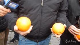Arresto De Vito, Casapound porta arance in Campidoglio e chiede dimissioni della Raggi