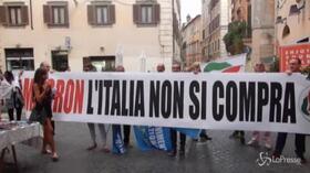 Macron a Roma, protesta il Movimento Nazionale per la Sovranità